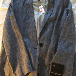 "Navy ""tweed"" single button blazer"